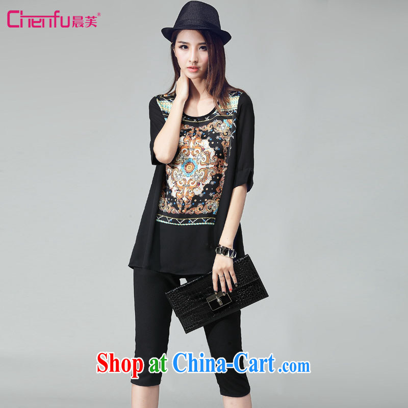 Morning would be 2015 summer new Korea and indeed increase, stylish and simple leisure 7 pants Kit mm thick Ethnic Wind retro hit color stamp Leisure package black 4XL