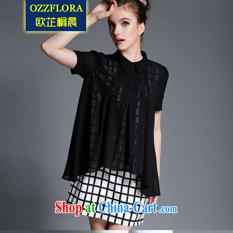 OZZFLORA 2015 summer new Europe grid stamp larger women is the increased emphasis on MM leave two snow woven dresses black XXXL