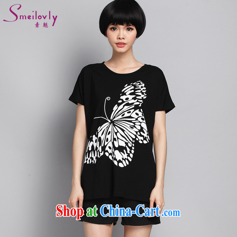 Director of summer 2015 with new, and indeed increase, female fat MM stylish stamp duty short-sleeved T pension 1623 black large code 5 200 XL about Jack