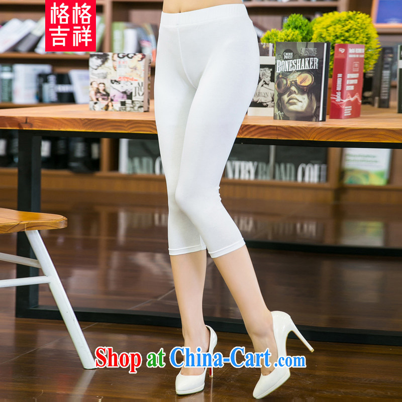 Huan Zhu Ge Ge Ge 2015 summer new, larger female and FAT and FAT people video gaunt waist stretch castor pants solid color thin 7 pants 5252 white 4XL