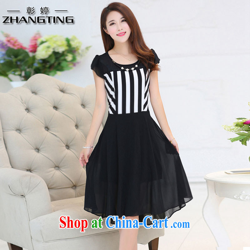 Chang Ting summer new, larger female thick mm video thin stitching snow beauty woven dresses T 1190 black 3 XL .