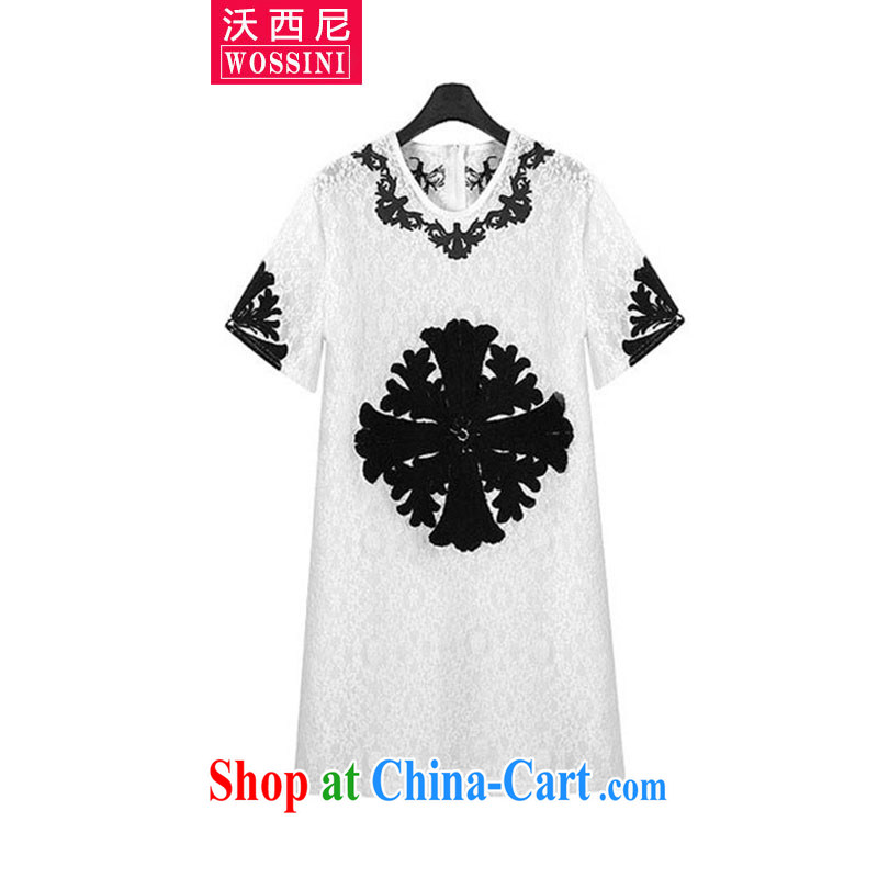 Kosovo, Western Europe and North America 2015 XL summer female new thick mm lace embroidery round-collar short-sleeve graphics thin dresses 1818 white XXXL