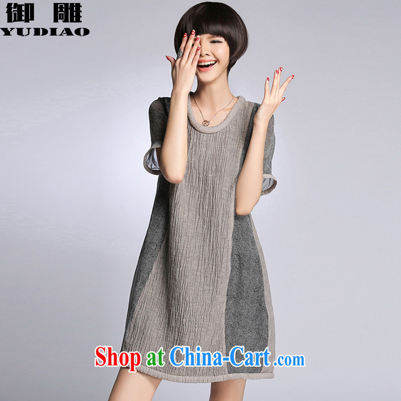 royal eagle 2015 summer new women in Europe and America with loose the code thick sister in the basket in the long dresses Z 404 light gray XXXXL