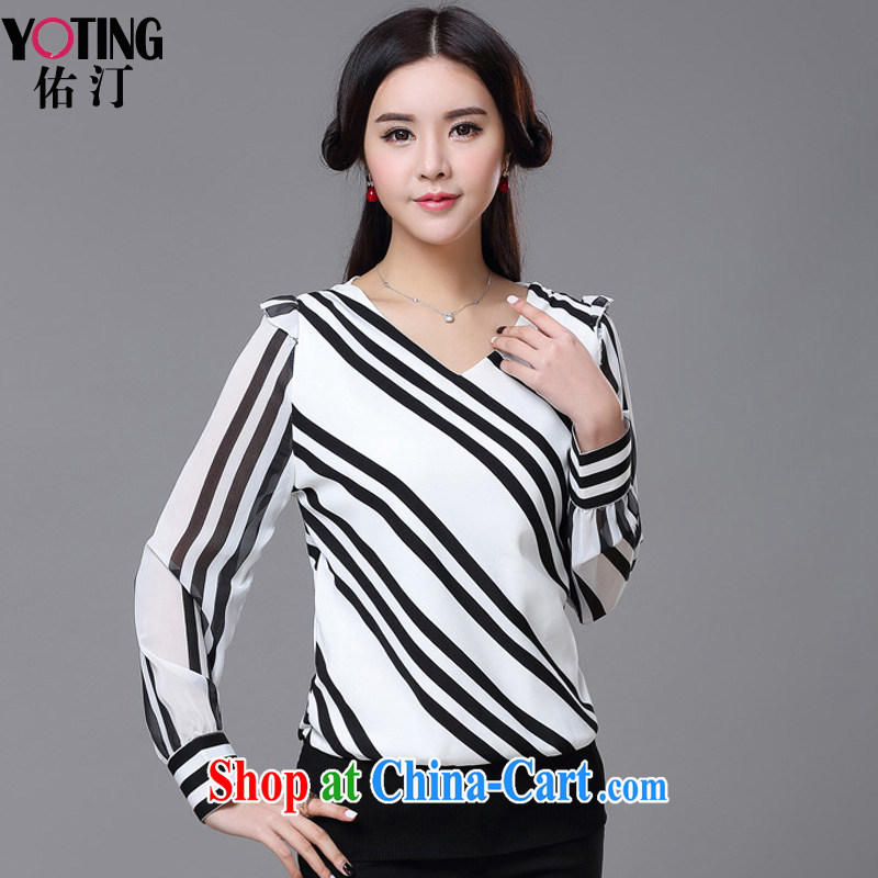 woo-ting 2015 spring and summer, reload streaks female Korean style XL loose long-sleeved snow woven shirts female YT 3329 white XXXXL