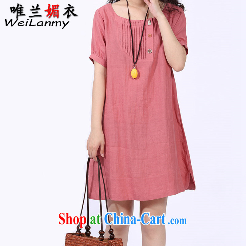 Only LAN Mei Yi 2015 summer new Korean version with graphics thin A Field dress and short-sleeve cotton Ma dress 8521 pink XL