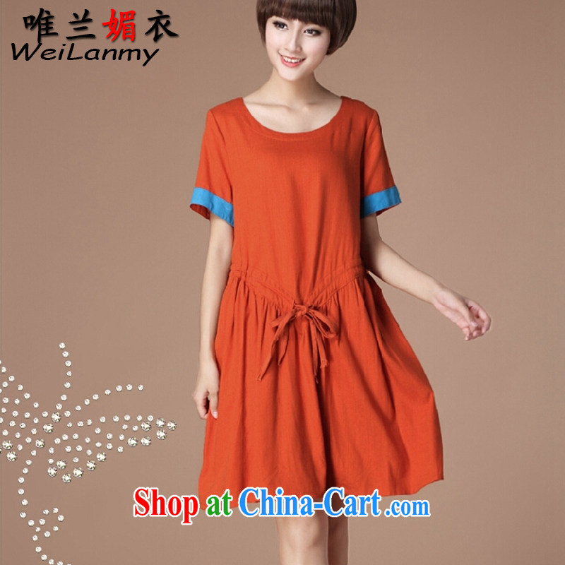 Only LAN Mei Yi 2015 summer new Korean version the Code women with a waist graphics thin loose cotton Ma dress short-sleeved 6979 orange L
