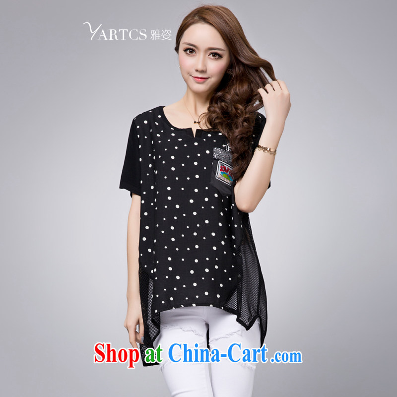 Jacob standing rules do not loose short sleeves shirt T girl, long, large, female thick mm summer 2015 New Wave the black L