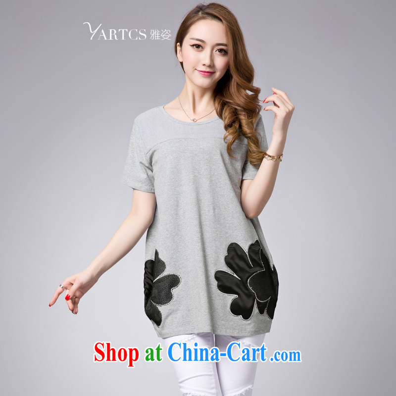 Colorful, larger women mm thick summer 2015 new round-collar embroidered T-shirt girls summer relaxed, long, fat sister T shirt gray 4 XL