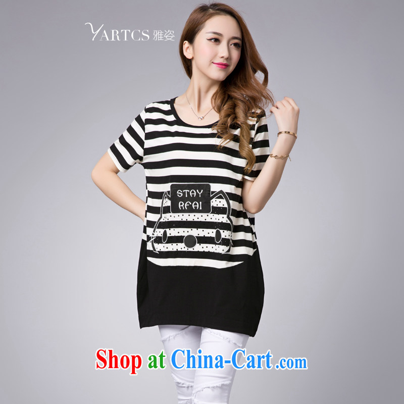 Colorful, thick mm summer 2015 the code female loose black and white horizontal lines T-shirt, long graphics thin T pension summer female black-and-white stripes 2 XL