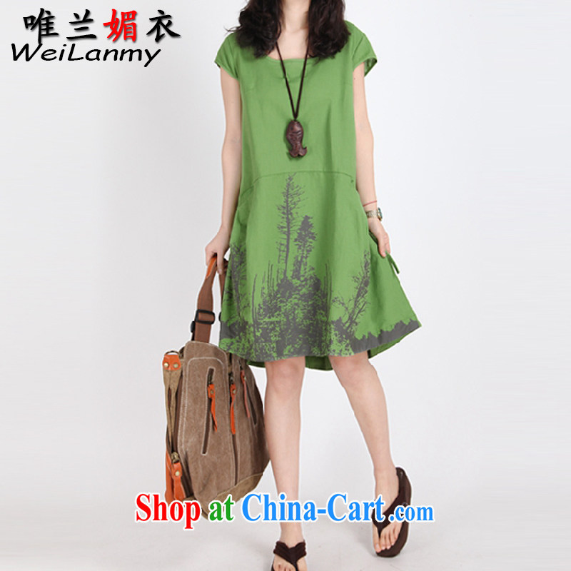 Only LAN Mei Yi 2015 summer new female stamp leisure loose the code mm thick cotton Ma short-sleeved round collar skirt 6973 green XL
