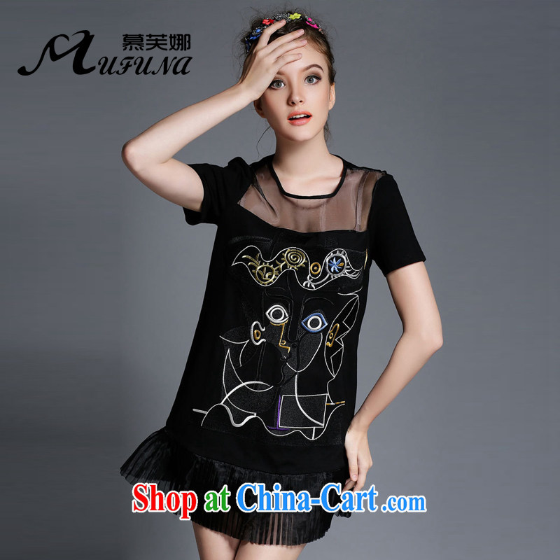 The summing up of the Code women summer 2015 new high-end embroidered short sleeves thick mm beauty graphics thin dress 1891 black XL