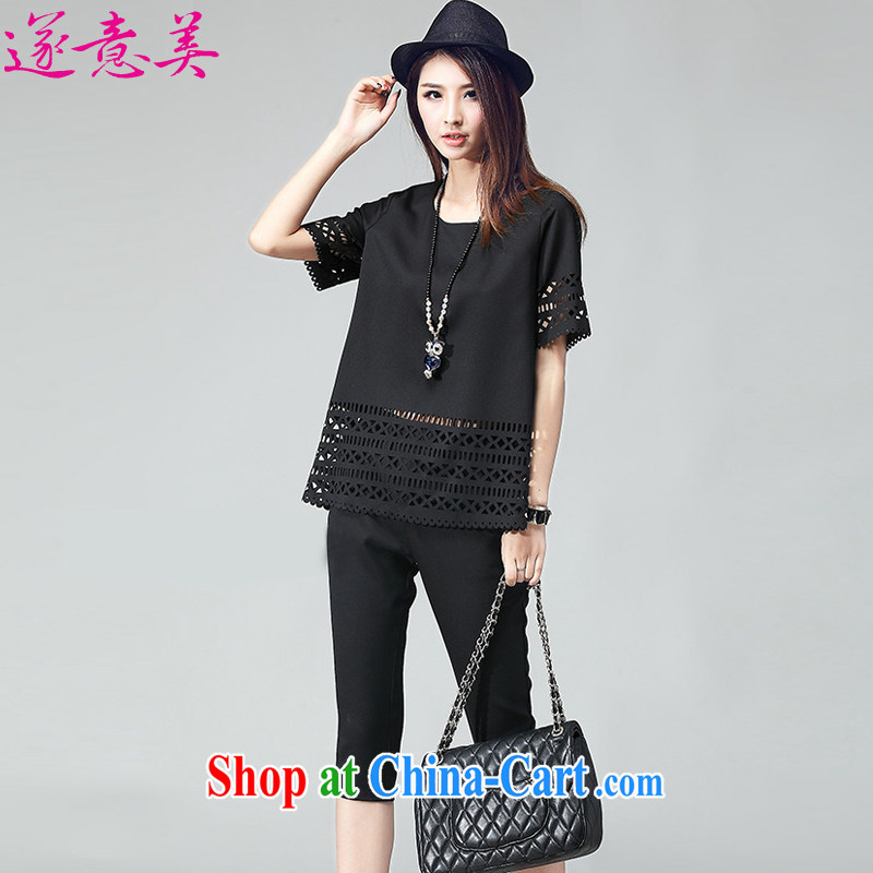 Adjourned accordingly at five minutes to the 2015 summer new XL girls stylish cutouts biological empty two-piece short sleeve T-shirt 7 pants leisure suite 8006 black XXXL