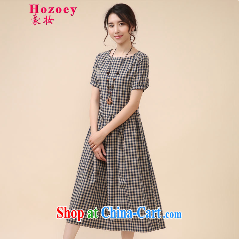 Ho costumes makeup summer 2015 new female arts van retro stamp long linen_cotton relaxed mask poverty thick MM breathable larger dresses package mail 8009 blue-and-white grid L