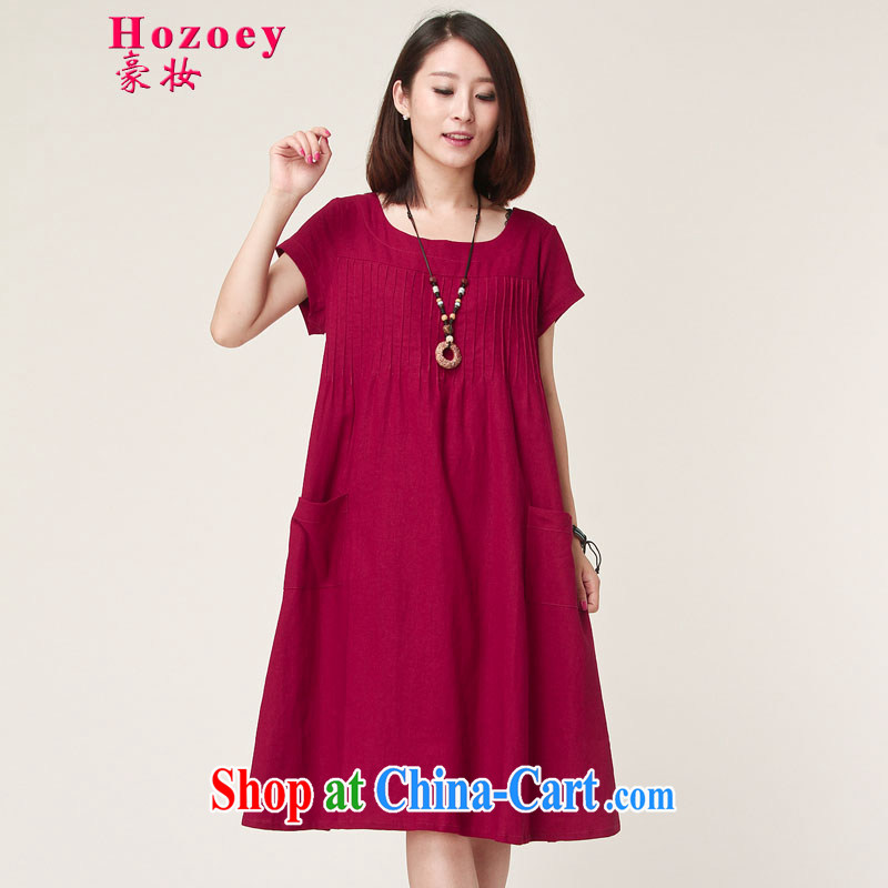 Ho costumes makeup summer 2015 new women's clothing retro art, cotton linen Yau Ma Tei.~ relaxed abdominal fat MM long breathable dress the code package mail 8011 the red L