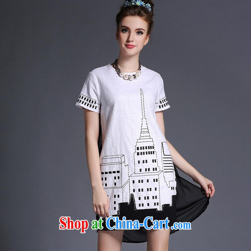 Summer 2015 new XL girls cotton Ma dress mm thick, long, loose video thin white 3XL _72 - 82 _ KG