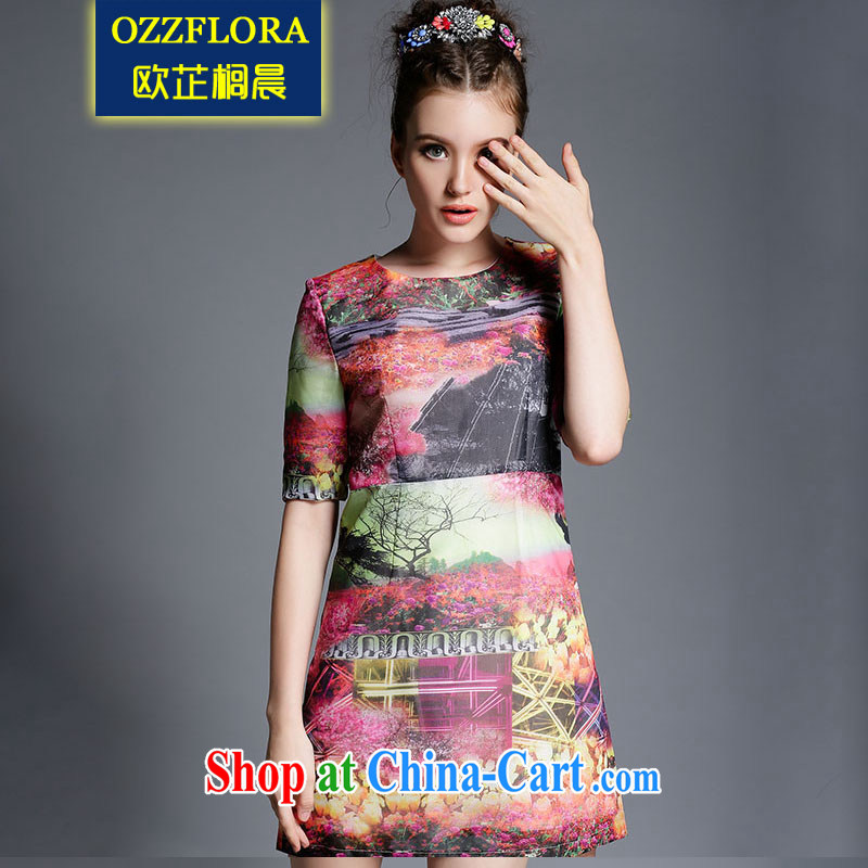 OZZFLORA 2015 Summer in Europe and the new, larger women is the increased emphasis on MM abstract stamp snow woven short-sleeved dresses picture color 5 XL