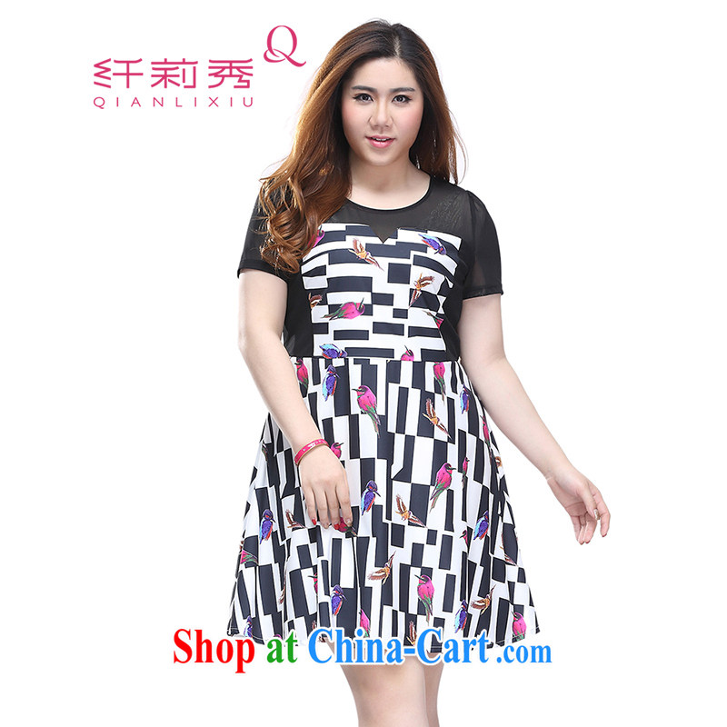 Slim LI Sau 2015 summer new, larger female, stamp duty stretch mesh stitching round-collar short-sleeve dresses Q 7578 black 4XL