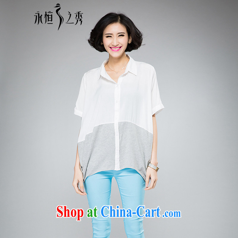 2015 spring and summer mm thick new larger female minimalist atmosphere bat sleeves loose video thin short-sleeve shirt T white 3XL