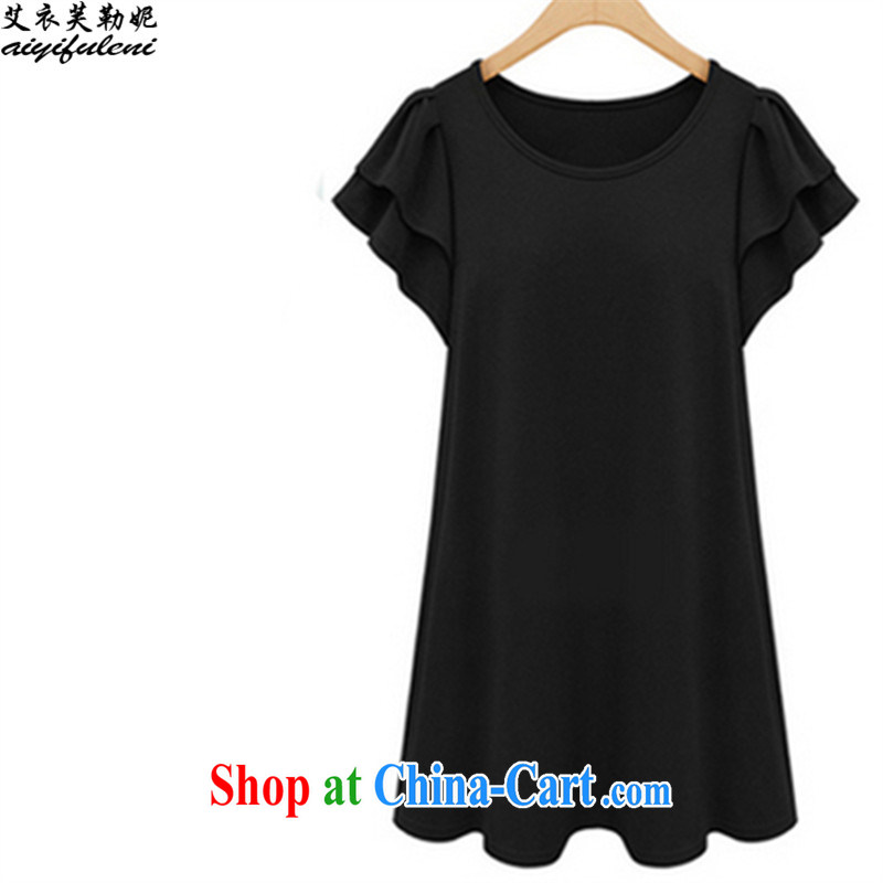 The clothing can be, Connie 2015 Summer in Europe and America is the XL women mm thick 200 jack can be seen wearing short short-sleeved video thin casual dress 2641 black 5 XL