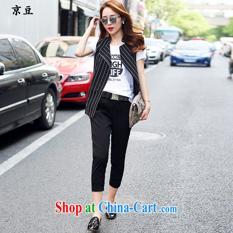 The Beijing Summer 2015 new Korean version the short-sleeved shirt T female snow woven shirts, a casual pants 3-piece set HM 005,813 streaks XL