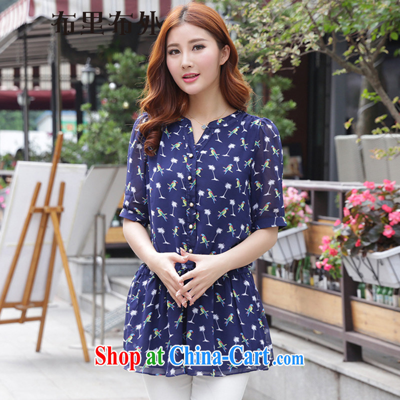 In addition, 2015 new summer female King, women snow woven shirts thick girls with graphics thin, Summer Snow stamp duty woven shirts women 1195 BMW blue XXXL