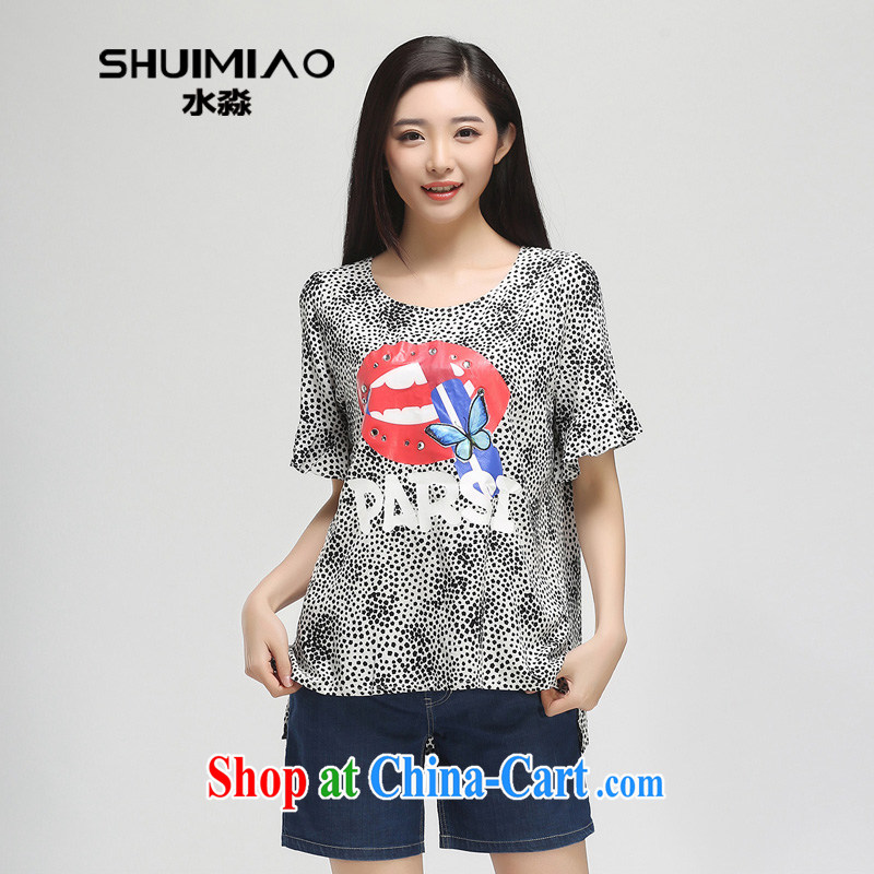Water by 2015 women summer New MM thick and fat XL snow woven short-sleeved T-shirt girl S XK 15 4784 black-and-white point XL