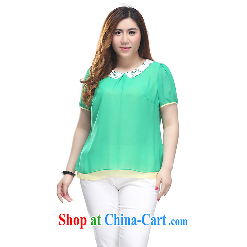Slim LI Sau 2015 summer new, larger female Sweet child adoption leave two-piece head snow woven shirts T-shirt Q 7788 green 2 XL