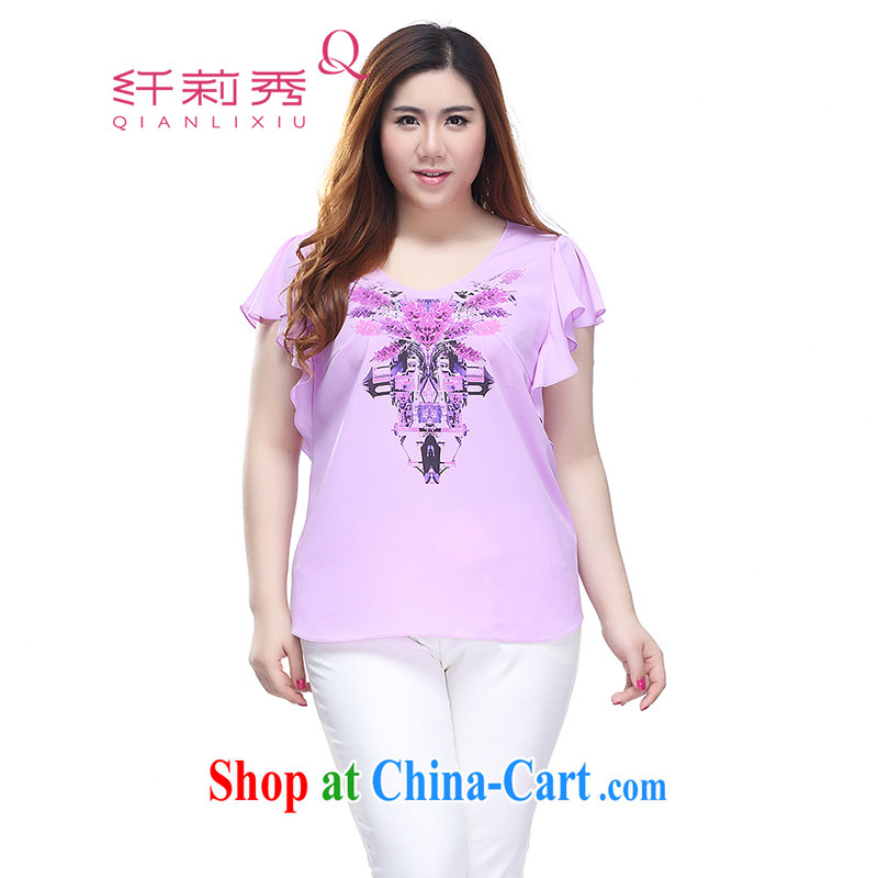 Slim Li-su 2015 summer new, larger female stylish stamp small V collar flouncing cuff commuter and snow-woven shirts Q 7852 purple 4 XL