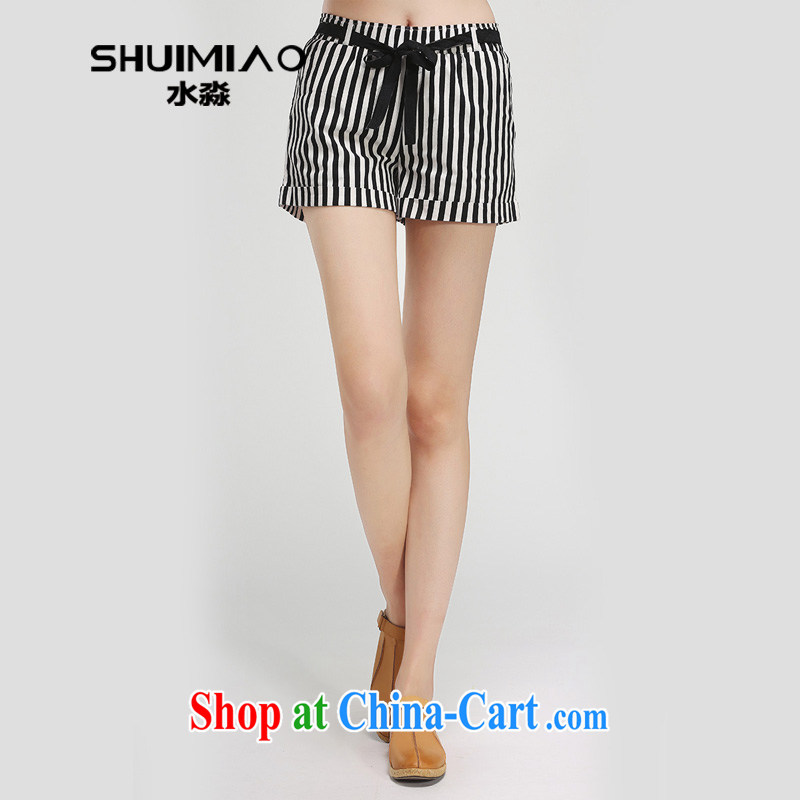 Water by 2015 summer new 200 Jack XL women mm thick Striped Short girl hot pants S XT 15 5018 black-and-white, XXL