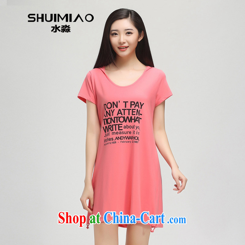 Water by 2015 summer Women's clothes new thick mm maximum code 4 the pop-up short-sleeve dresses girls skirts XY 15 4774 melon red L