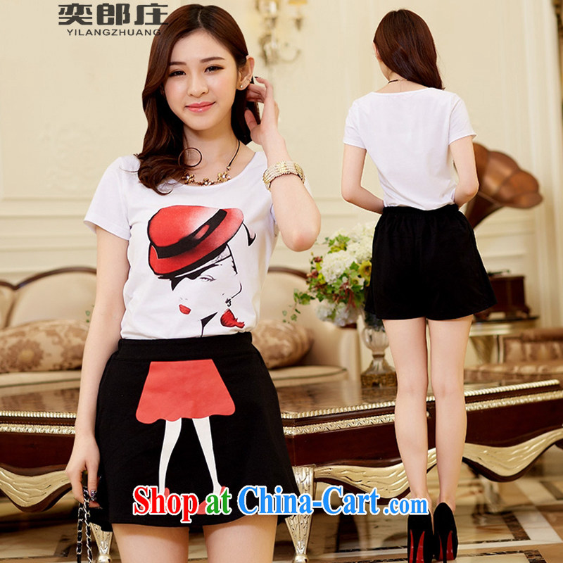 Sir David WILSON, Zhuang 2015 summer new Korean parent-child with the female beauty stamp short-sleeve cotton T + body skirt Kit 2318 adults M