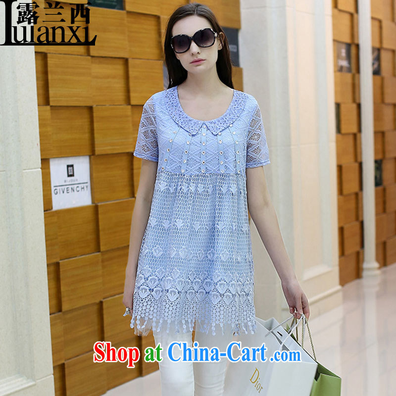 Terrace, Western Europe and the United States, the female summer new loose lace inserts drill short-sleeve dresses, long skirts solid light blue 3 XL 150 - 165 Jack left and right