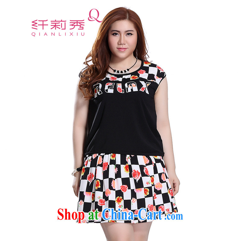 Slim LI Sau 2015 summer new, larger female grid stamp stitching stamp body skirt is really two-part kit Q 7857 black 3 XL