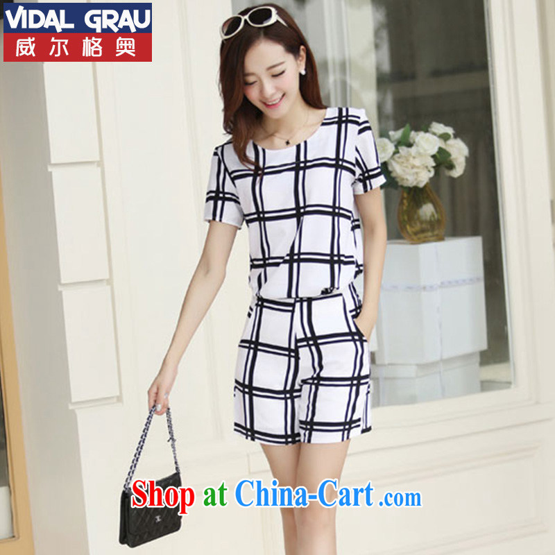 2015 VIDALGAU tartan large code snow woven package girls summer thick sister and indeed increase leisure 2 piece fat people graphics thin, 9918 white, 5 XL