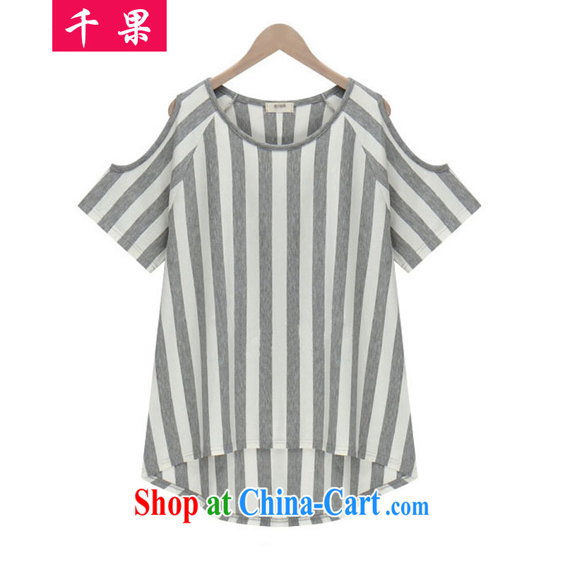 1000 fruit 2015 new Korean version summer is indeed the XL female fat people graphics thin, loose, long, your shoulders short-sleeved T shirt T-shirt 5132 Gray stripes 5XL