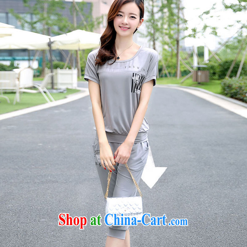 and aviation-ting 2015 campaign kit women summer summer leisure package new, larger female Korean short-sleeved thick mm two gray XXXXL