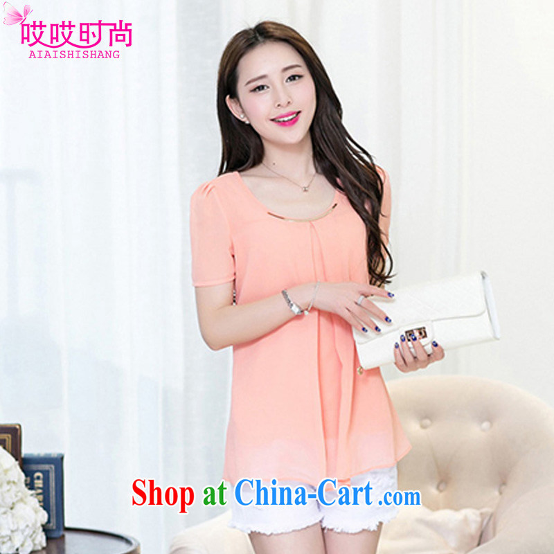 Ah, ah, stylish 2015 summer new, larger female cool snow woven shirts T-shirt 8911 _pink 4 XL
