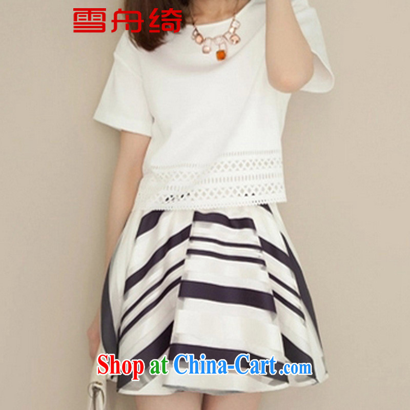Snow Storm, 2015 spring and summer with new dresses XL dress Korean short-sleeved thick sister two-piece A 5213 white XXL