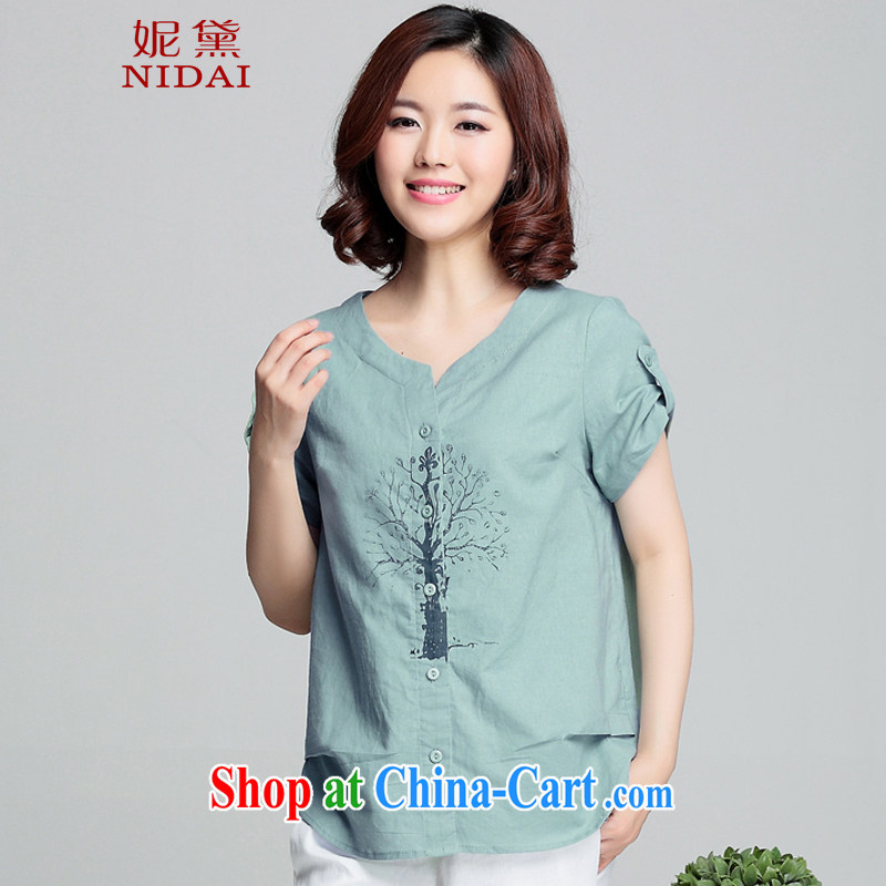 Connie Diane 2015 summer on the new larger female female shirt XH 9387 water blue 4 XL