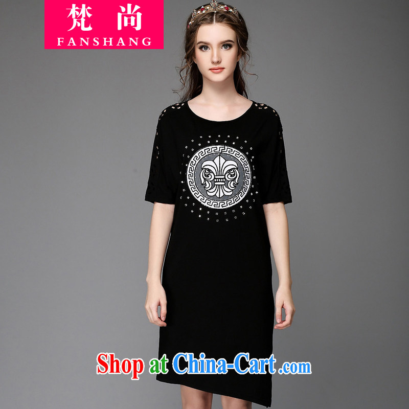 He will be in Europe and promote the hypertrophy, female 200 Jack thick mm summer dresses parquet drilling relaxed beauty graphics thin skirt black XXL