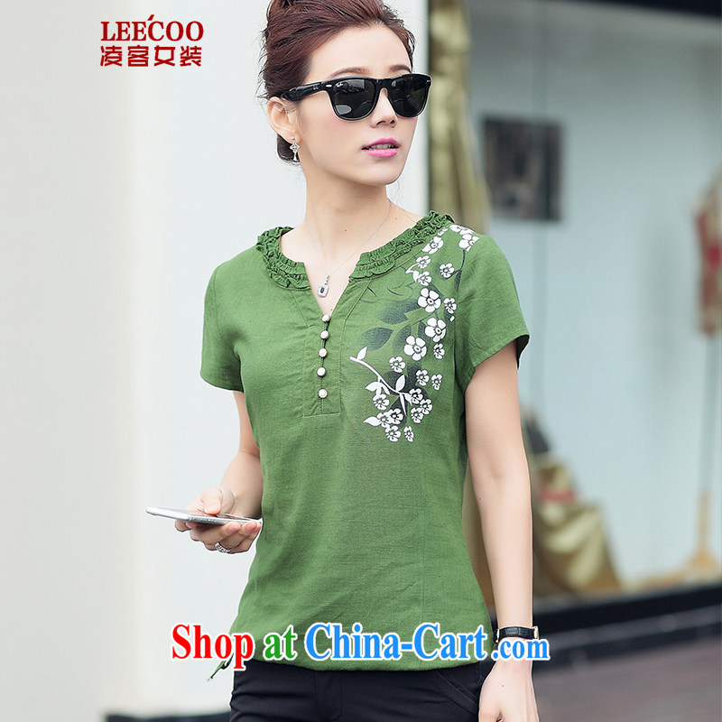 Ling, leecoo 2015 summer on the new larger female female shirt XB 6824 green 2 XL