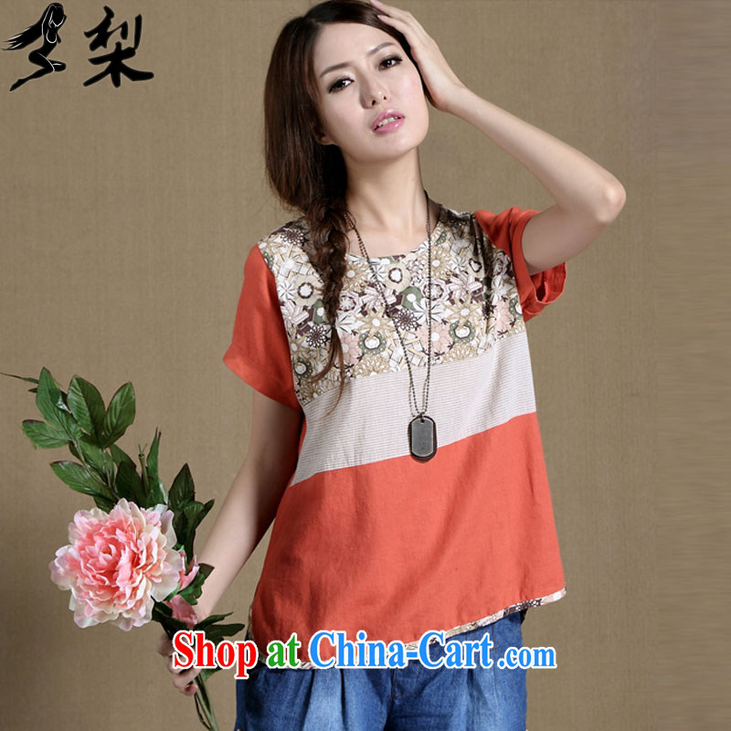 Lei Muk Shue overnight fat sister Yau Ma Tei cotton summer new Korean version mm thick graphics thin short-sleeved T-shirt performances, female and fat and loose T-shirt girls 502 orange XXL code