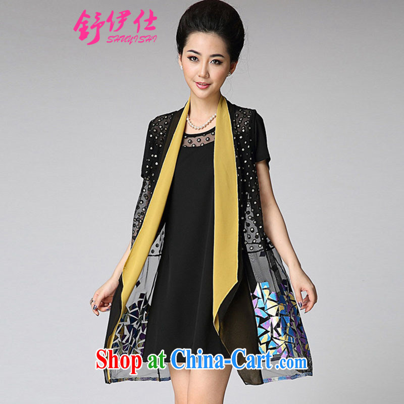 Shu yi shi summer new ultra large, Mom loaded the Web yarn embroidery two-piece short-sleeved checkered dress King middle-aged ladies elegance banquet clothes yellow XXXL