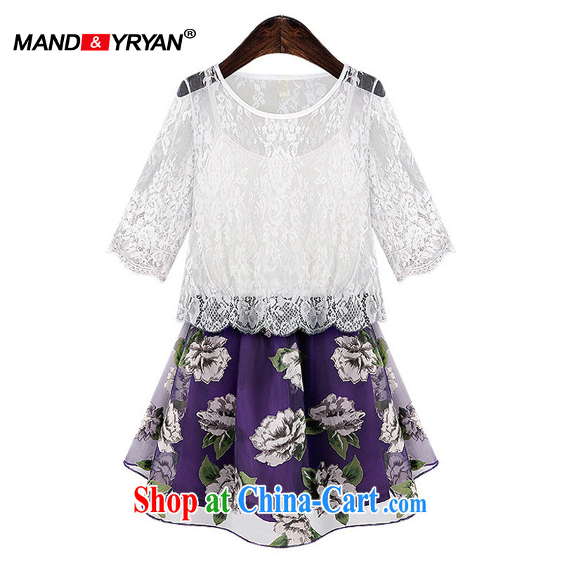 Romantic, Ryan summer 2015 new larger women mm thick lace stitching two-piece flouncing graphics thin European root dress white MDR XXXL 1903