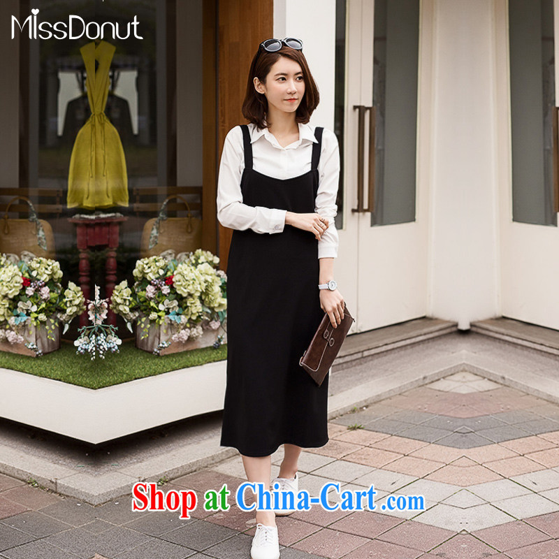 MissDonut summer 2015 is indeed the XL girls with thick mm jack 200 Korean loose straps skirt video thin dresses 100 ground long skirt Black Large Number 3 XL