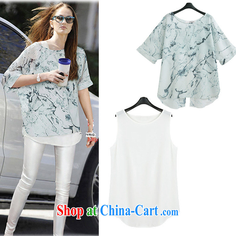 2015 ydzd in Europe and America, the female summer new thick mm does not rule on the truck snow T woven shirts + vest two-piece women picture color XXL - 125 - 145 jack