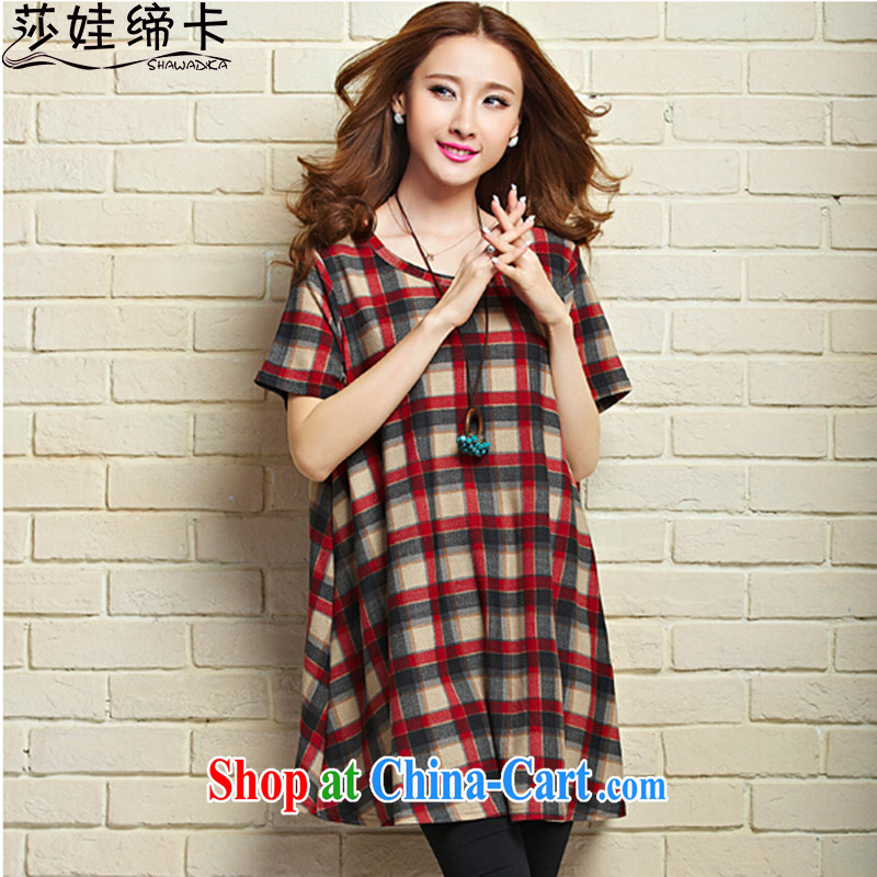 She concluded her card XL new dresses 2015 new large female summer grid control, long black-out stomach Korean lax T-shirt red L