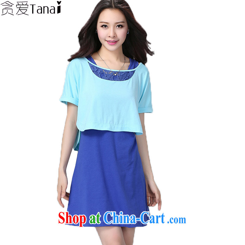 Loved summer new loose video thin two-piece thick, XL girls dresses Kit 2208 light blue + dark blue 4 XL