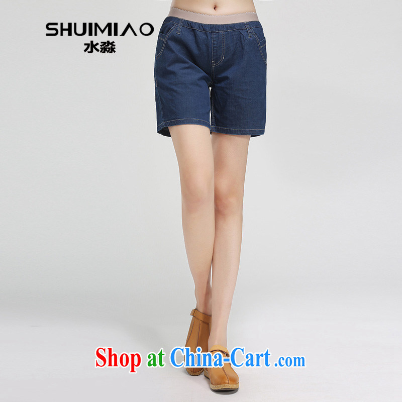 Water by 2015 summer new, larger female stretch Elastic waist denim shorts girls 3 pants XT 15 5014 Tibet, 4 XL