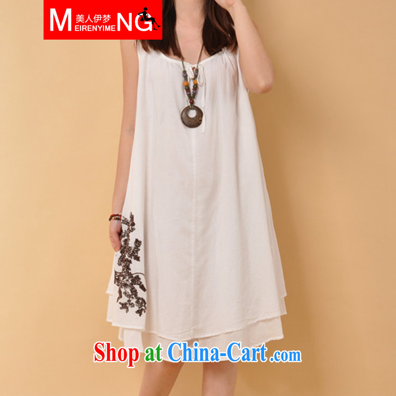 The beauty of summer 2015 with new thick mm larger loose sleeveless dresses, girls, cotton the embroidery takes the vest skirt X 81 white XXL